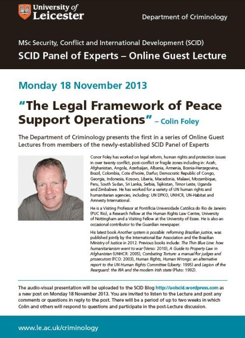 Online Guest Lecture Poster - Colin Foley - image