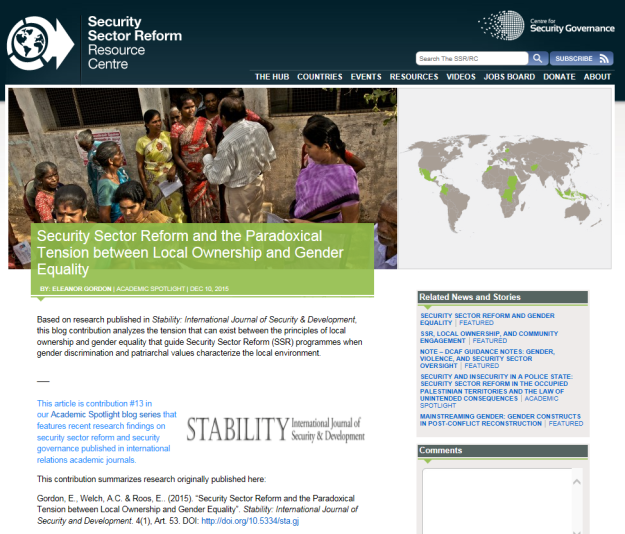 SSR, Local Ownership & Gender | Security, Conflict and